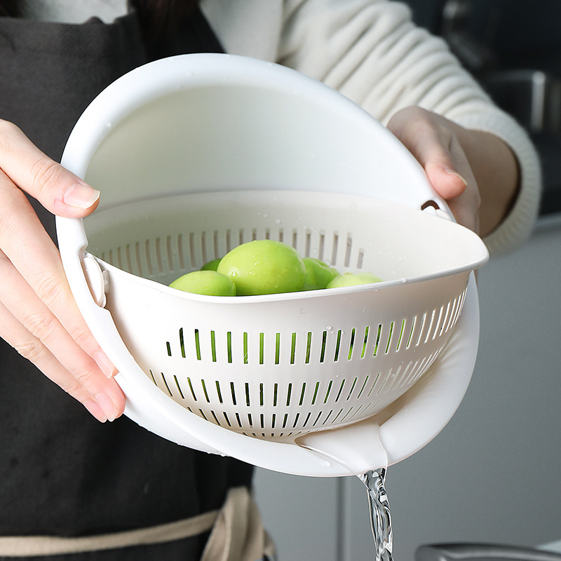 Washing Basket Double-layer Rotatable Drain Vegetable Plastic Fruit Baskets Multi-function Kitchen Storage