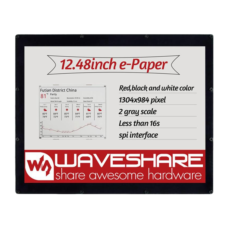 Waveshare 12.48Inch E-Ink Display Module, 1304x984 Resolution,Red/Black/White Three-Color, SPI Interface