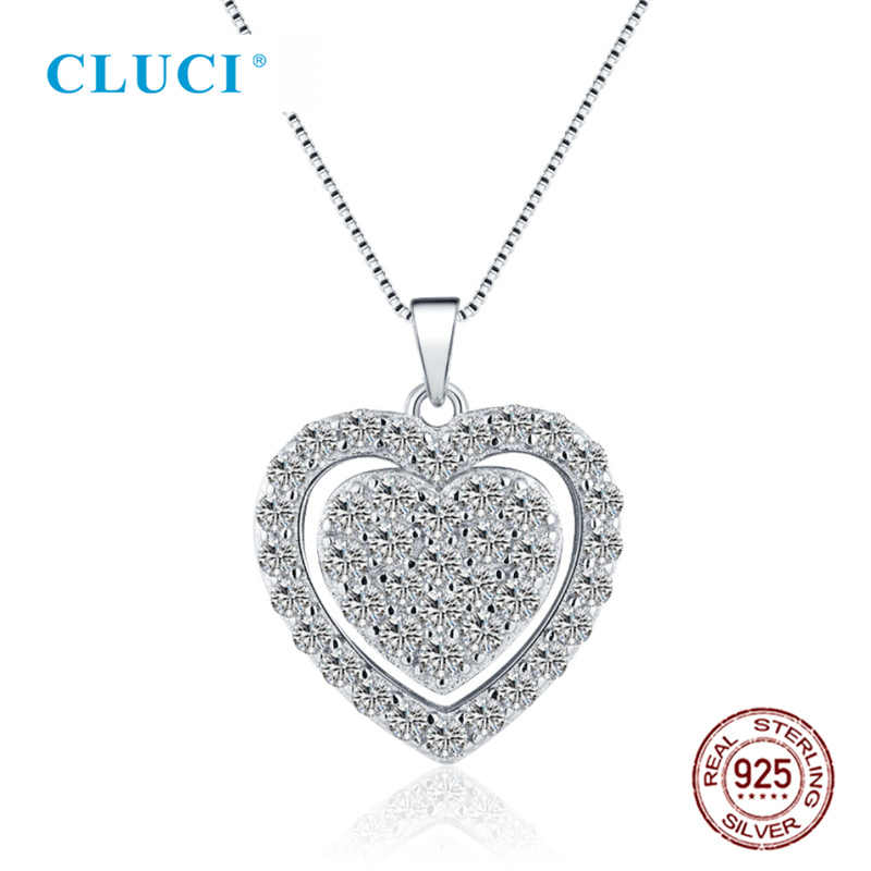 CLUCI 925 Sterling Silver Cute Heart Pendant Full with Zircons Women Valentine day Gift Jewelry