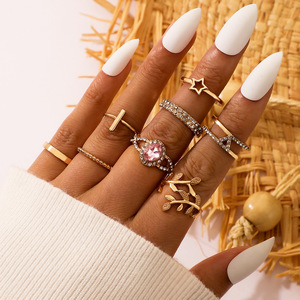 American fashion accessories wholesale personality geometric quit set zircon leaves the star ring 8 woolly joint ring
