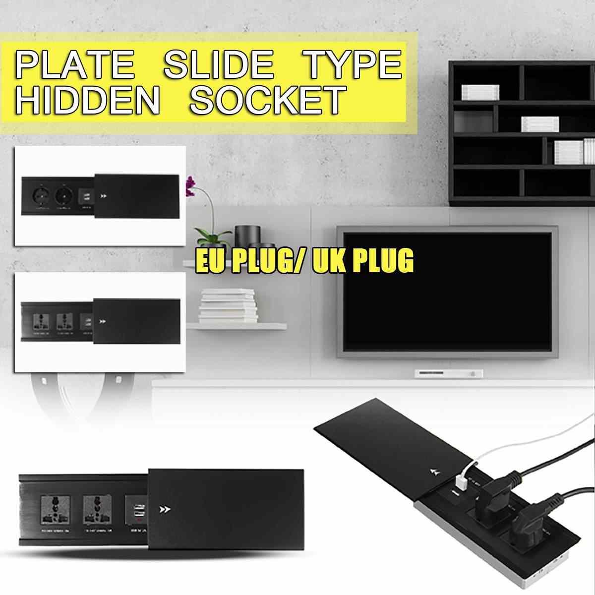 Wszystkie płyta ze stopu aluminium typu Slide 2 moc ue gniazdo brytyjskie podwójny USB portu ładowania stół biurowy wylot matowy czarna okładka 110-240V