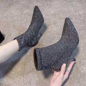 Image 1 - גרב מגפי בלינג נשים גבוהה עקב נעלי קרסול אופנה 2019 אישה נעלי נצנצים דק עקבים גבירותיי מסיבת חתונת נעליים חורף