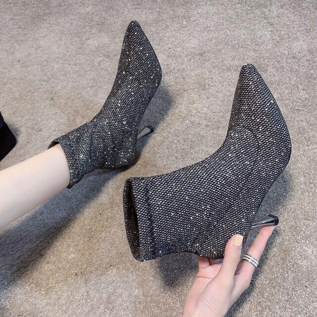 גרב מגפי בלינג נשים גבוהה עקב נעלי קרסול אופנה 2019 אישה נעלי נצנצים דק עקבים גבירותיי מסיבת חתונת נעליים חורף