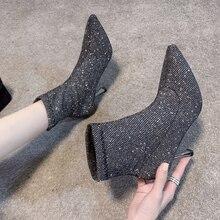 Socke Stiefel Bling frauen Hohe Ferse Ankle Booties Mode 2019 Frau Schuhe Pailletten Dünne Heels Damen Hochzeit Schuhe winter