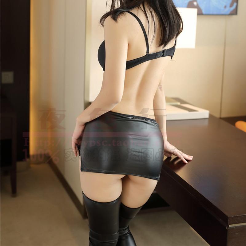 PU Faux Leather Black Skirt For Women Sexy Mini Skrit Lady Hot Bodycon Wetlook Jupe Courte Femme Porn Micro Short Skirt Clubwear