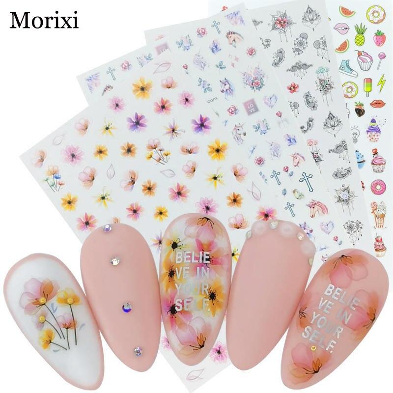 Купить наклейки для ногтей morixi fw077 натуральные цветы лебедь буквы