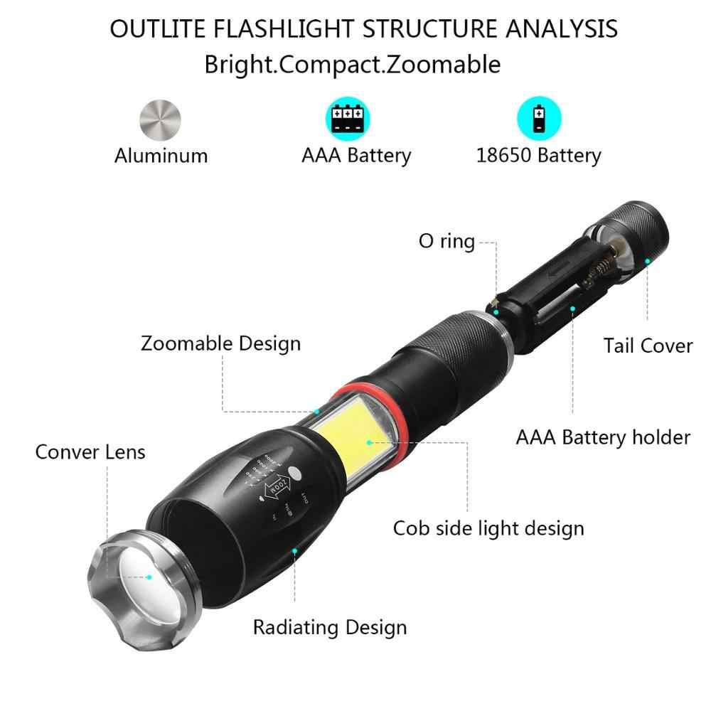 Multifunction Led Flashlight  Powerful T6 L2 Waterproof Zoom Torch COB Design Flashlight Tail Super Magnet Design Camping Lamp