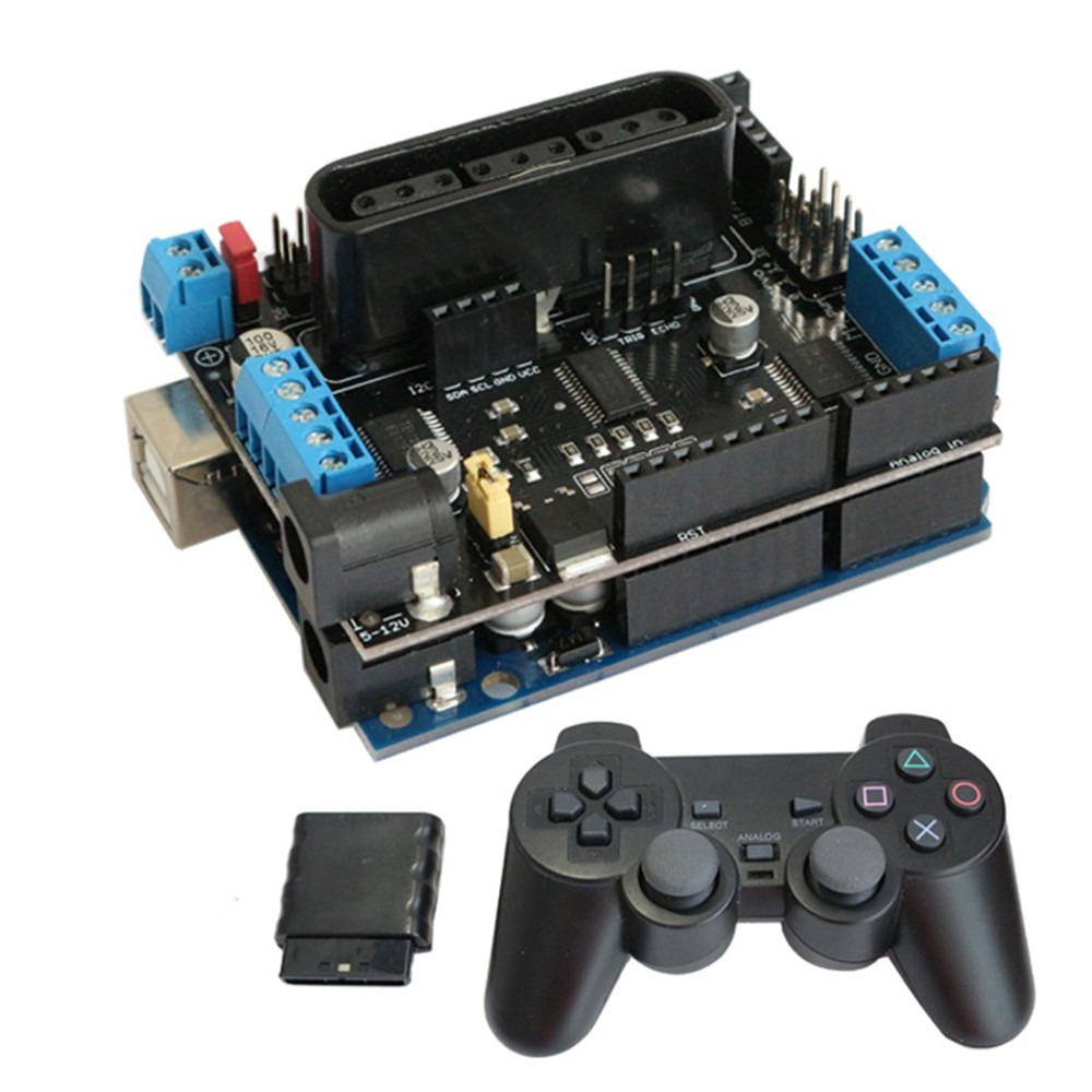 2019 Arduino Shield Expansion Board 6-12V With 4 Channels Motors Servos Ports PS2 Joystick Remote Control