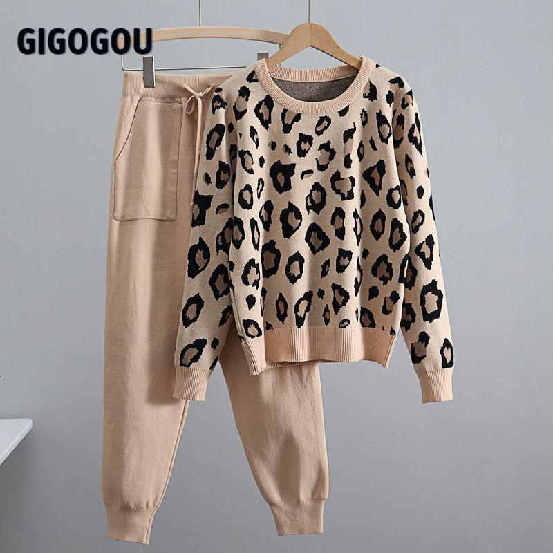 GIGOGOU Leopard Gestrickte Frauen Pullover Kostüm Herbst Winter Pullover 2 Peice Set Trainingsanzüge Zwei Stück Set Koreanische Sport anzüge