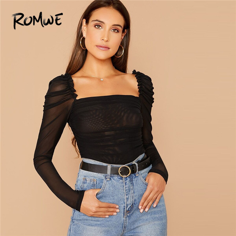 ROMWE Frill Trim Gigot Sleeve Ruched Mesh Top Square Neck Sexy T Shirt Women Slim Fit Tops 2020 Spring Solid Long Sleeve Tshirt