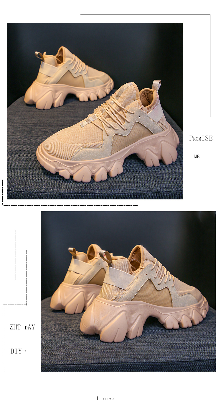 Weweya Beige Thick Sole Sneakers Women Lady Chunky Running Shoes Height Increasing 6.5 CM Sport Shoes Comfortable Walking Shoes