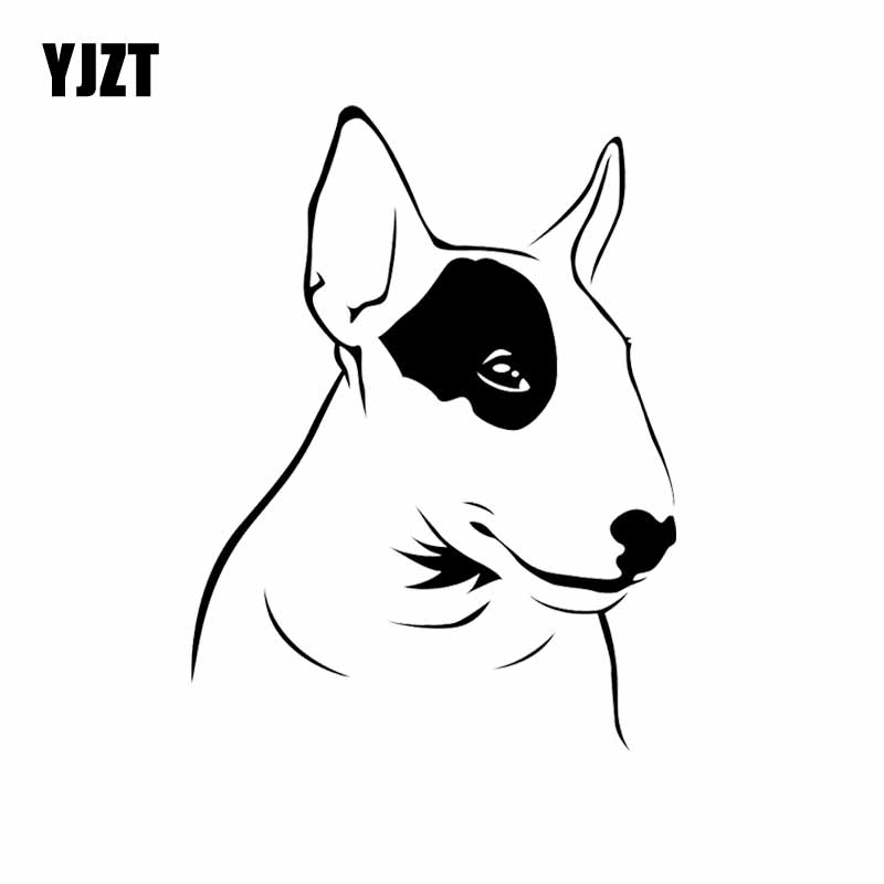 YJZT 11.9X15.9CM Intereting Car Sticker Bull Terrier Dog Animals Pets Vinyl Decal Black/Silver C24-1122