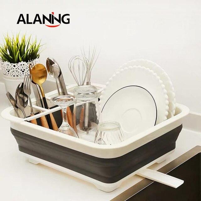Foldable Dish Rack Kitchen Drainer Tool Bowl Tableware Plate Storage Organizer Holder Portable Fold Drying Home TPR Rack Shelf