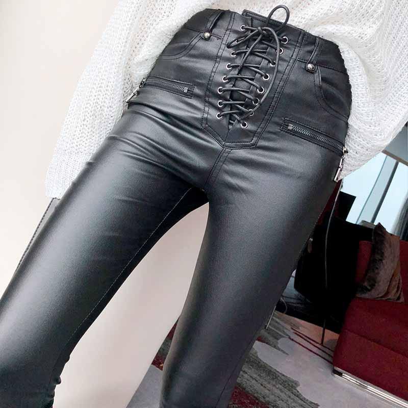 Brand New Women Fashion PU Leather Trousers Lace-up High Waist Skinny Pencil Pants Zipper Cuff Faux Leather Female Pants 904F