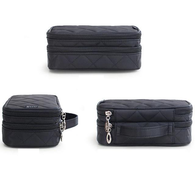 New Fashion Zipper Women trave Make Up  bag Big Capacity 2 layers cosmetic bags beauty Case Makeup Organizer Toiletry bag kits 5