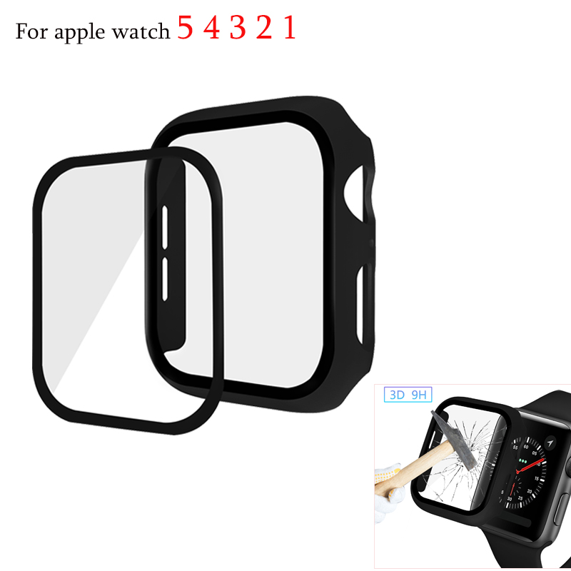 Watch Cover For apple watch serie 5 4 3 2 1 case 44mm 40mm screen protector 38mm 42mm Tempered glass film For iwatch accessories