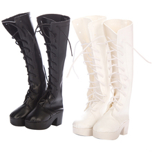 1 Pair Fashion Boots Hand Made High Heel Bandage PU Leather Shoes for 60cm 1/3
