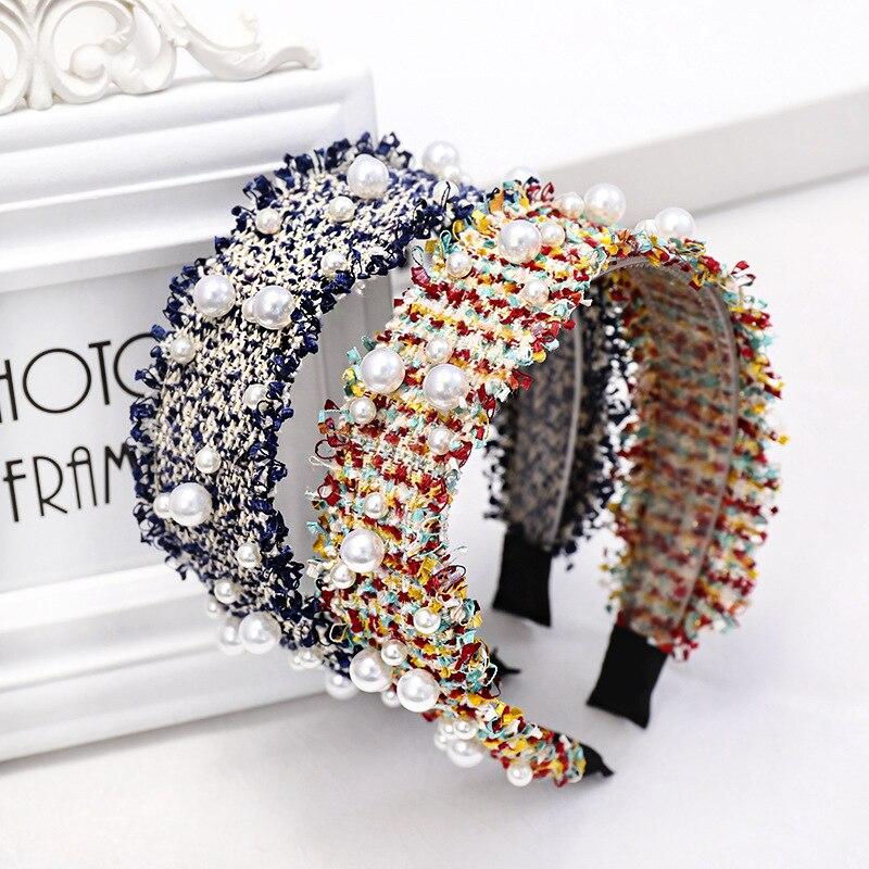 Fashion Shining Pearls Hairband For Lady Handmade Woven Plaid Headband Hair Ornament Hoops Hair Holder Fashion Hair Accessories|Women's Hair Accessories| - AliExpress