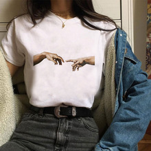 Michelangelo Sistine Chapel Harajuku Fashion Loose Casual Fun Print Short Sleeve T-Shirt