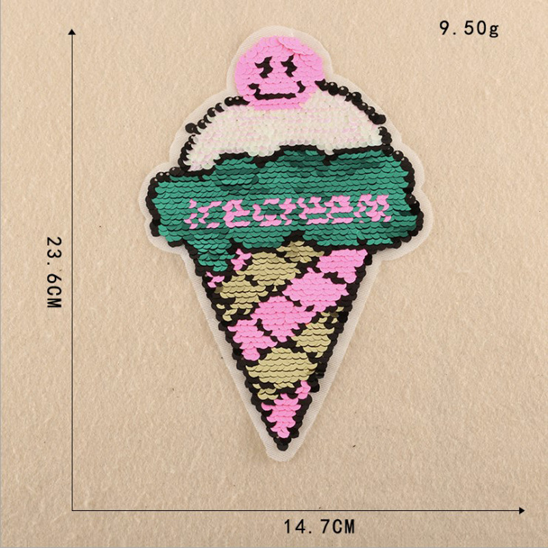Ice Cream Beads Embroidered With Sequin Patch Clothes Accessories Jacket T-shirt Sweater Clothing Decoration Tonic Decals