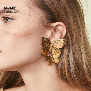 Tocona Fahion Double Layer Butterfly Drop Earrings for Women Lovely Animal Gold Dangle Earrings Jewelry Wholesale pendientes8949 image
