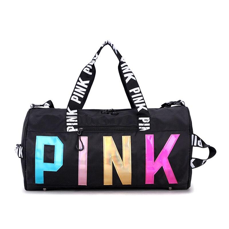 Gym Bag Shoulder Handbag Bags PINK Women Shoe Compartment Waterproof Sport Fitness Bags For Training Yoga Bolsa Sac De Sport
