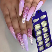 Long Coffin Stiletto Acrylic Fake Nail Art Fingernail Oval Professional Full Cover DIY Ballet Fasle Nail Art100Pcs Mixed suit(China)
