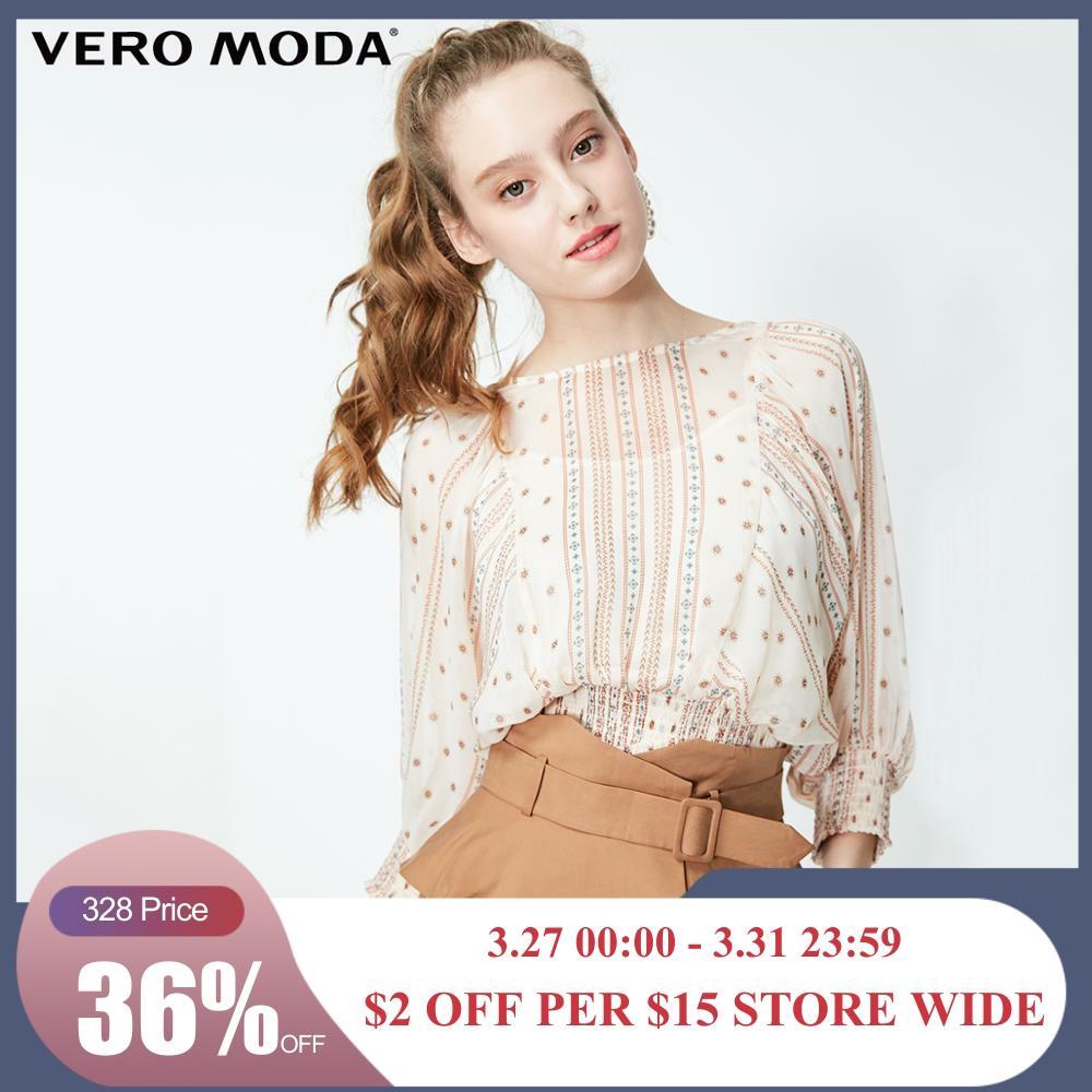 Vero Moda Women's National Print Elasticized Waist 3/4 Sleeves Blouse Chiffon Tops | 319158516