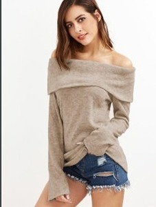 Autumn 2020 pure color open-shouldered long sleeve sweater to keep out the cold and warm fashion Korean version sweater forwoman
