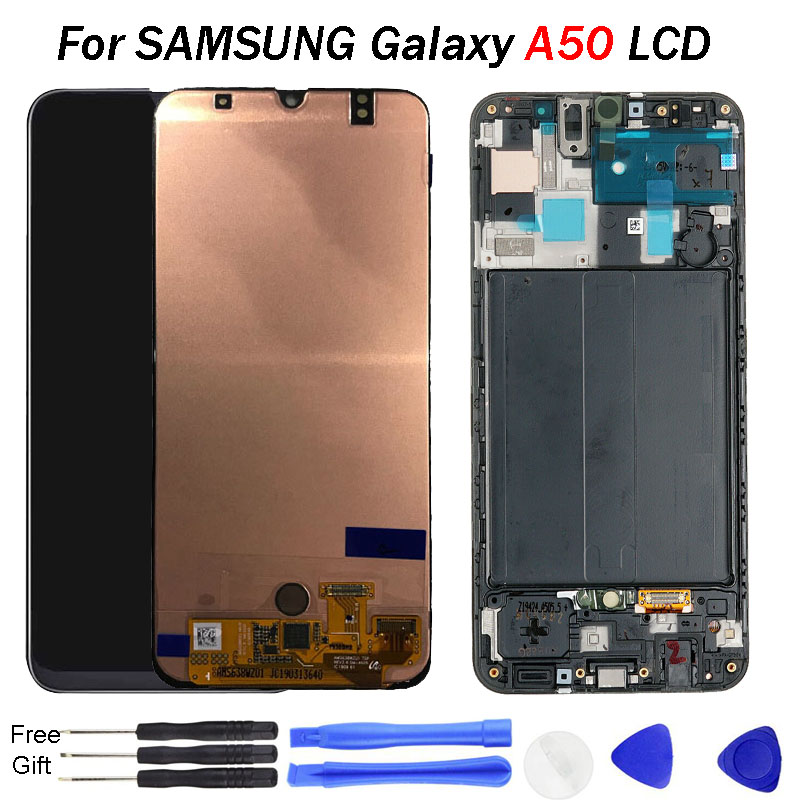 For SAMSUNG Galaxy A50 Display A505 A505F LCD Touch Screen Digitizer Assembly AMOLED LCD display with Frame For Samsung A50 LCD