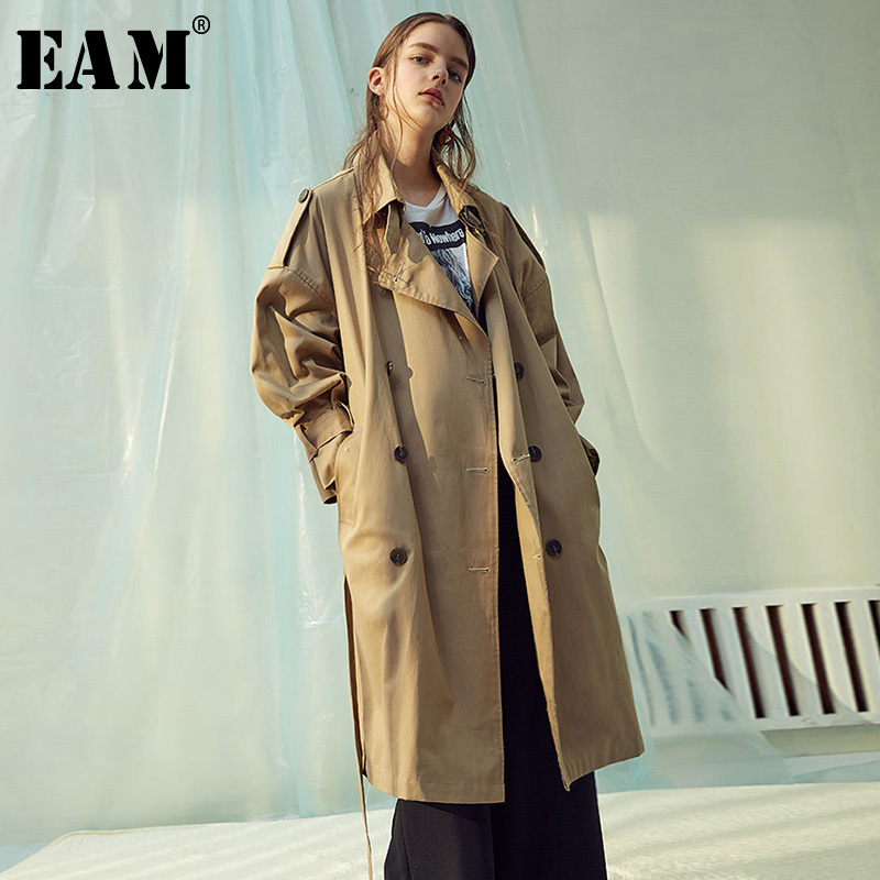 [EAM] Women Double Breasted Big Size Long Trench New Lapel Long Sleeve Loose Fit Windbreaker Fashion Autumn Winter 2019 1H202