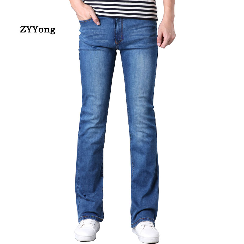 ZYYong  Mens Business Casual Slim Bootcut Flared Jeans Trousers  Flares Jeans For   Blue Elastic Force  Hommes Bell Bottom