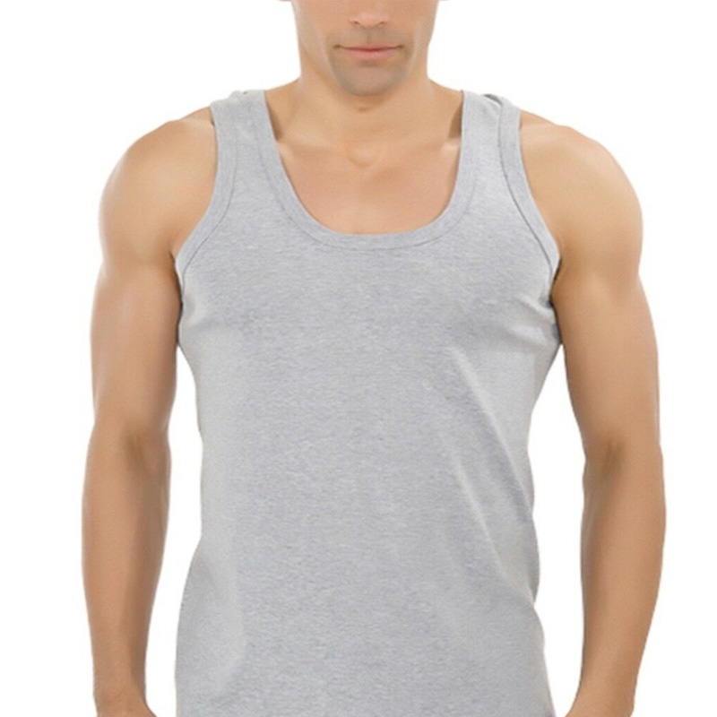 Cotton Vest T-Shirt Underwear Tank-Tops Bodyshaper Transparent Sleeveless Gym Fitness-Size