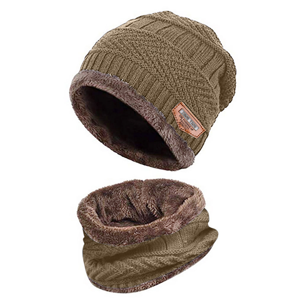 2pc Plus Velvet Solid Hat And Scarf Two-Piece Knitted Windproof Cap Men Warm Beanie Winter Thicken  Hats Accessoires Femme