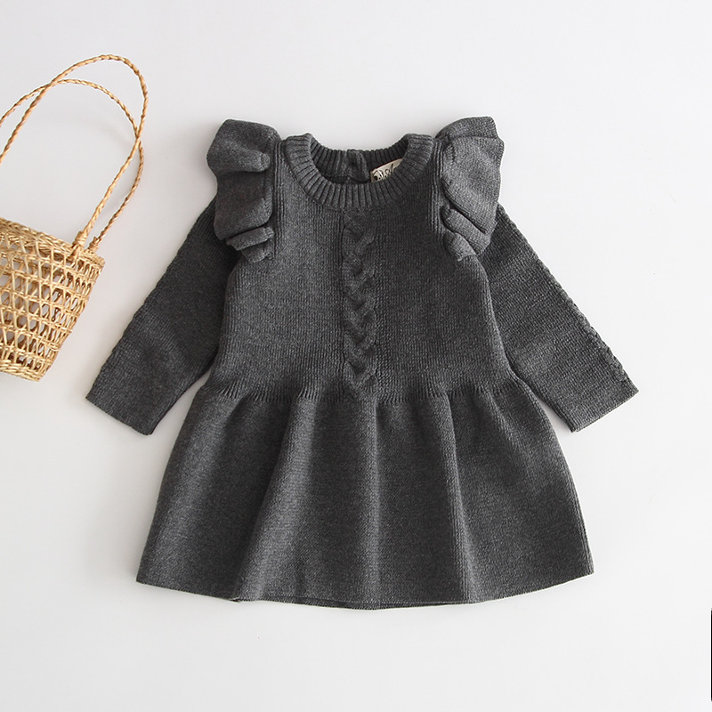 Hc16a2a68629f468eaae9f2ac99637bfcU Girls Knitted Dress 2019 autumn winter Clothes Lattice Kids Toddler baby dress for girl princess Cotton warm Christmas Dresses