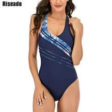 Riseado-bañador deportivo de una pieza para mujer, traje de baño de estilo vendaje cruzado, XXL, 2021
