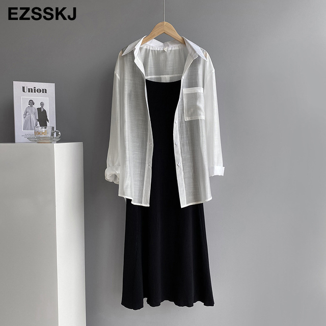 chic knit French V-neck A-line maix dress women female 2021 summer elegant  long dress robe dress 5