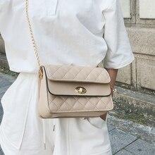 2019 PU Leather Women Messenger Bag Plaid Ladies Crossbody Bag Chain Trendy Candy Color Small Flap Shopping Handbag