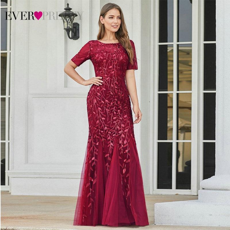 Вечерние платья для выпускного Ever Pretty, длинное кружевное платье русалка из тюля, разных цветов, с коротким рукавом, аппликациями, большого р