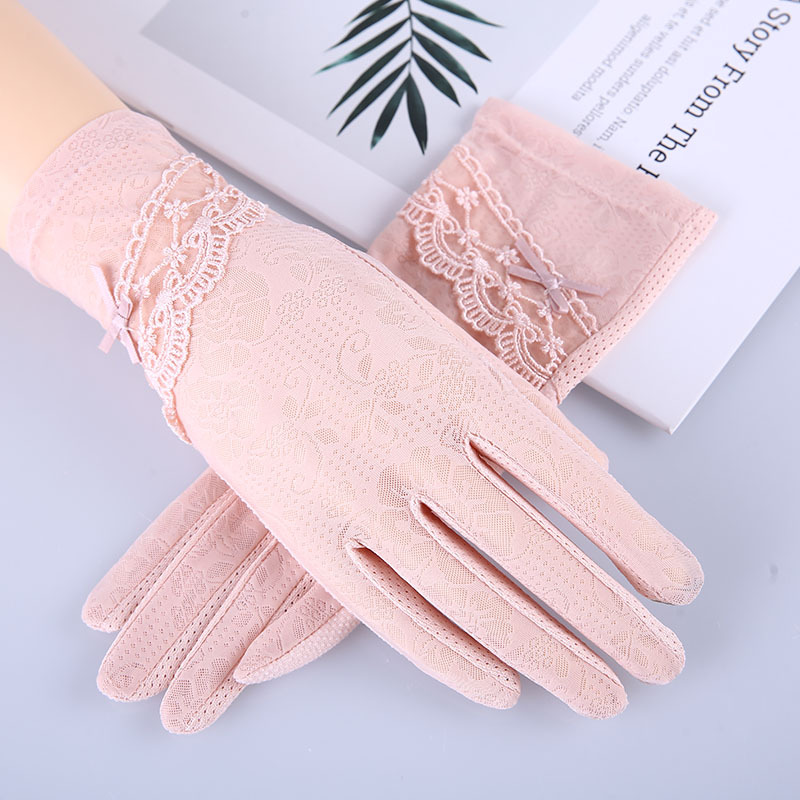 Women's Summer Bow-knot Outdoor Touch Screen Finger Gloves Ice Silk Lace Sunscreen Non-slip Driving Gloves