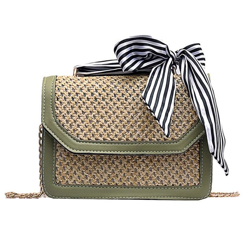 ABZC-Women Ribbon Straw Bag Female Summer Rattan Handbag Ins Popular Lady Casual Clutch Bag Travel Handmade Knitted Crossbody