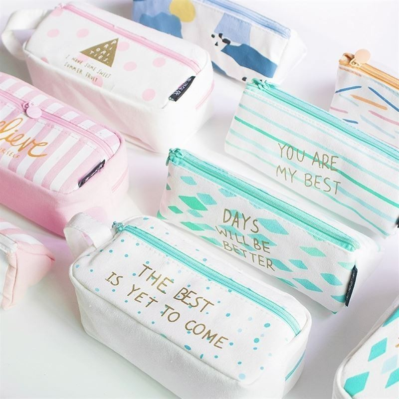1 Pc Kawaii Large Capacity Grid Canvas School Pencil Cases Creative Cute Pen Bag Box Pouch Office Stationary Supplies 04939