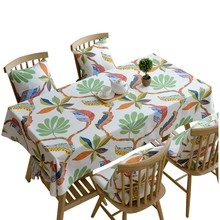 Classical Cotton Linen Rectangle Tablecloth Plant Arabesque Leaf Printed Table Cloth Dustproof Table Cover for Wedding Home