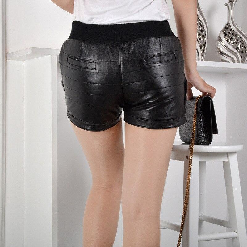 Womens Leather Shorts 2020 New Korean Fashion Streetwear Fur Skinny Female Trouser Elastic Mid Waist Slim Mini Short Pantalone