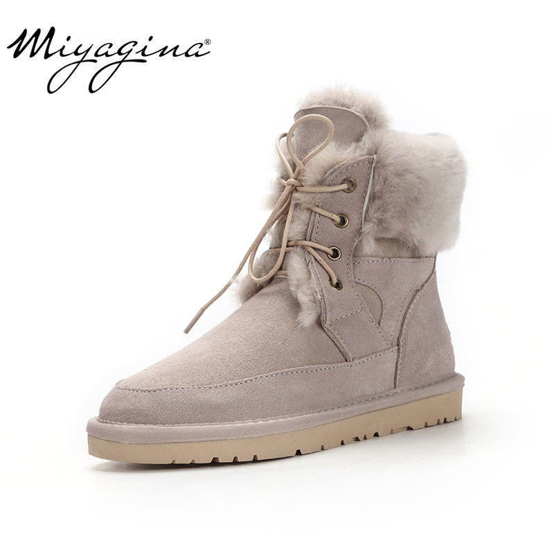 Top Quality Genuine Sheepskin Leather Woman Snow Boots Fashion Waterproof Winter Boots 100% Natural Fur Warm Wool Women Boots image