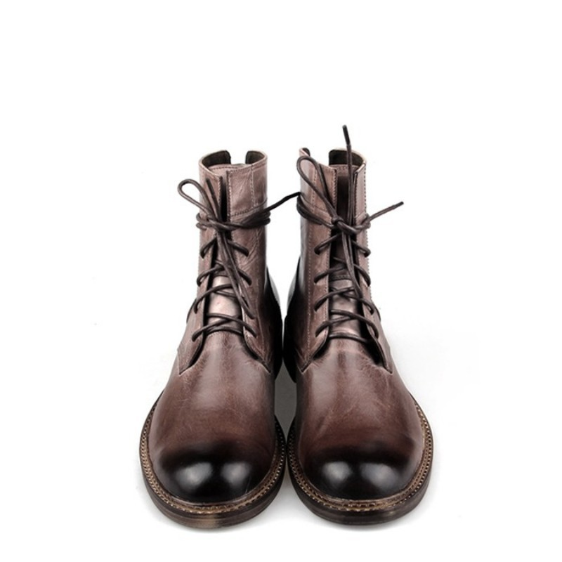 British Ankle Boots Men Brand Lace-Up Cow Leather Cowboy Boots Winter Vintage Black/Brown Dress Boots Office Zapatos De Hombre
