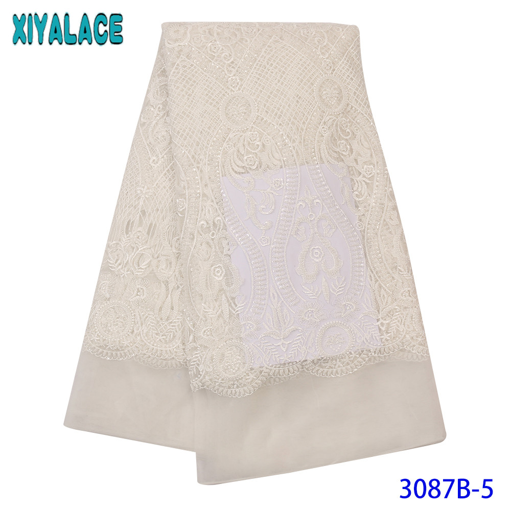 NEW Lace Fabric African Lace Fabric 2019 High Quality Lace Beaded French Nigerian Lace Fabrics 3D Lace White For Wedding KS3087B