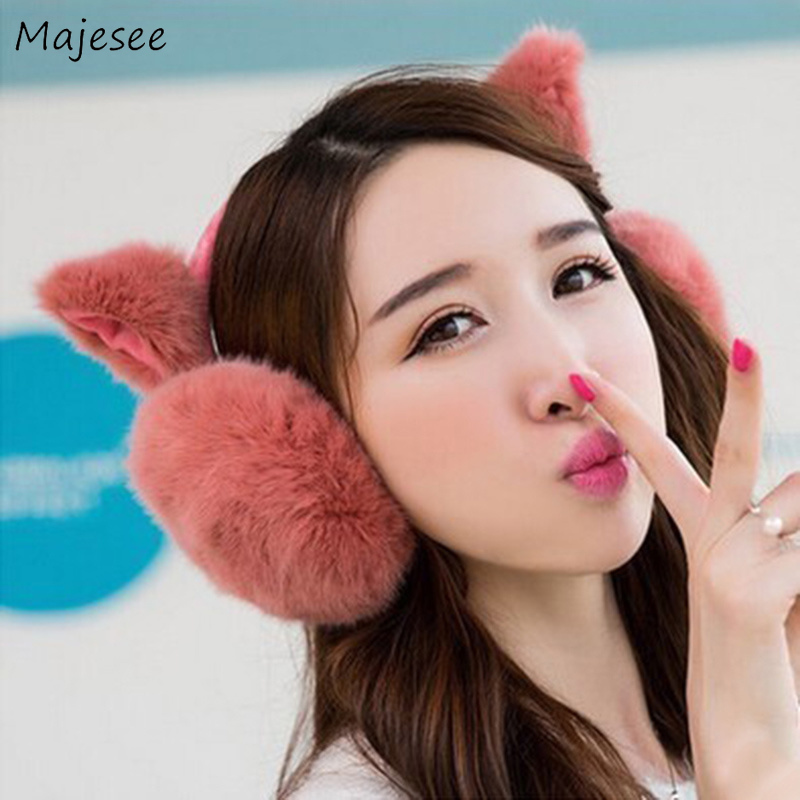 Earmuffs Women Winter Thick Warm Soft High Quality Womens Solid Girls Kawaii Pink Simple Student Korean Style All-match Harajuku