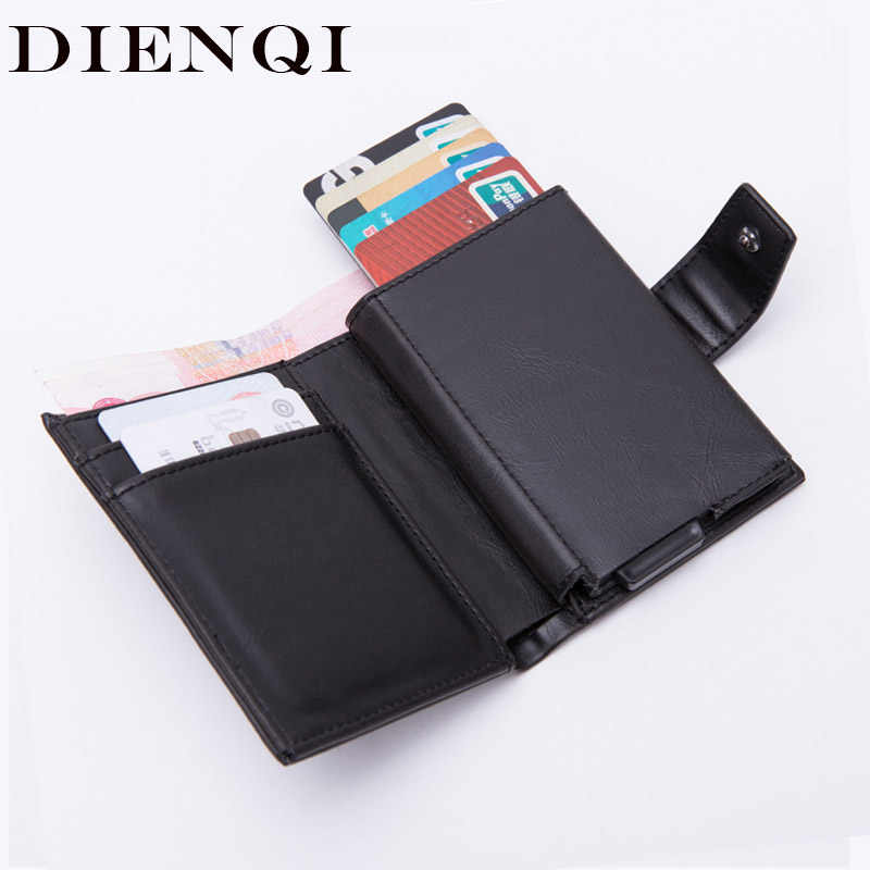 DIENQI Rfid Card Holder Men Wallets Fashion Short Male Purse Money Bag Wallet Small Brand Luxury Trifold Leather Wallet Vallet