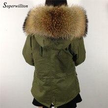 Парка с воротником из натурального меха, армейский зеленый цвет, женская зимняя куртка, женское длинное пальто с капюшоном, большой натуральный мех, Abrigos Mujer Feminina